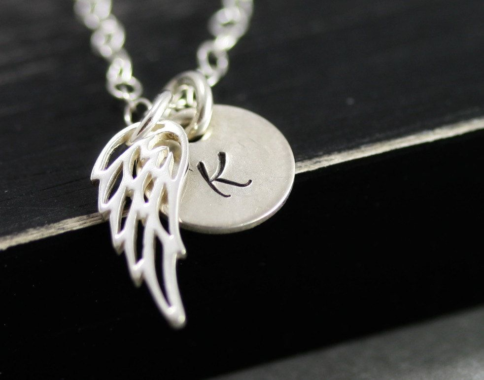 Personalized Angel Wing Necklace Sterling Silver