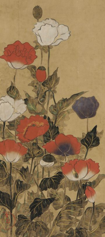 Poppies. Painting. 18th or 19th c, Japan..  Gift of Charles Lang Freer . Freer Gallery of Art and Arthur M. Sackler Gallery