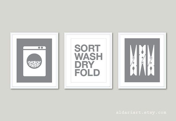 Laundry Room Art Prints Set Of 3 Wall Clothespins Print Modern Home Decor Bl