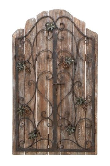 Rustic Metal Wall Decor wrought iron & rustic boards (idea for the wrought iron panels