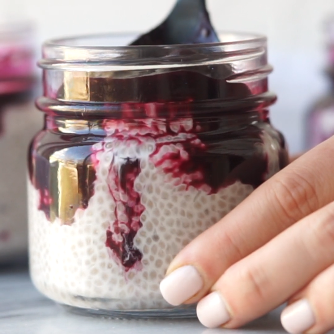 Blueberry Coconut Chia Seed Pudding - Mad About Food #chiaseedpudding