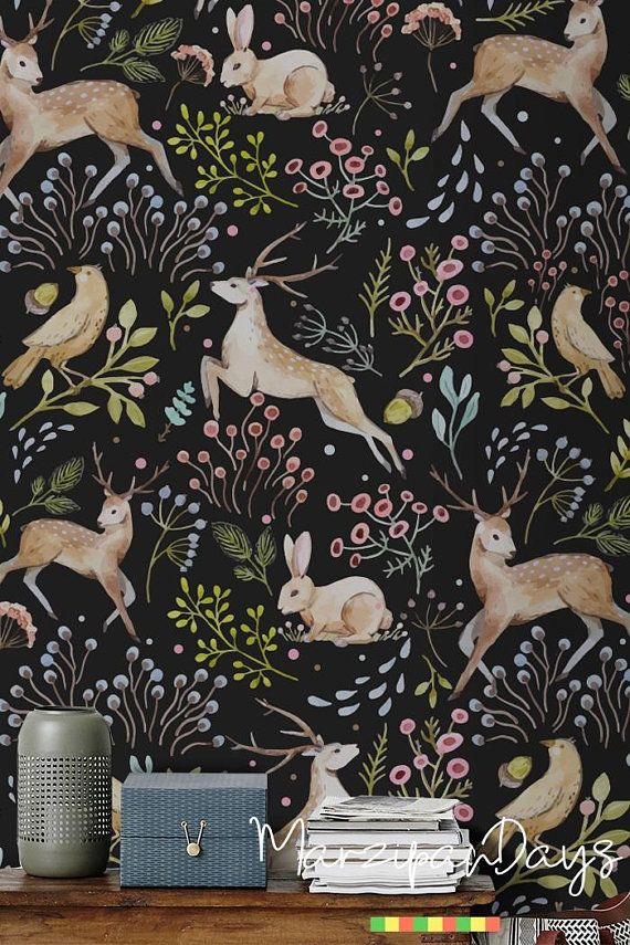 Woodland wallpaper - Dark woodland animals wall de