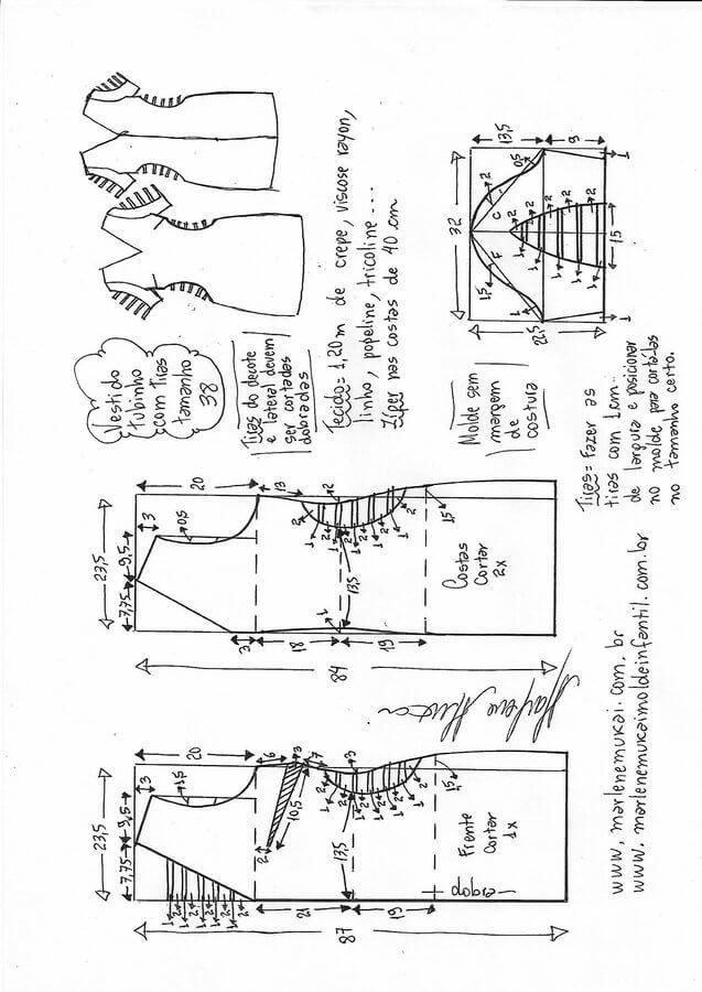 Vestido tubo con tiras | Corte y Costura | Pinterest | Costura ...