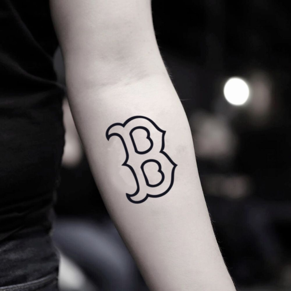 Boston Sports Red Sox Letter B Outline Temporary Tattoo
