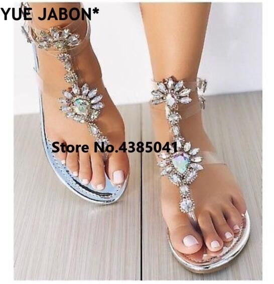 Crystal Flat Sandals Women Shoes is part of Rhinestone sandals, Heel sandals outfit, Womens sandals, Casual sandals, Sandals, Women shoes - Department Name Adult Item Type Sandals Fashion Element Crystal Insole Material Microfiber Outsole Material Rubber Closure Type Buckle Strap Side Vamp Type Open Occasion Party Sandal Type Gladiator Upper Material PVC Back Counter Type Ankle Strap Heel Type Flat with Heel Height Flat (≤1cm) Style Sexy With Platforms No Fit Fits true to size, take your normal size Lining Material PVC Model Number 002 Pattern Type Geometric