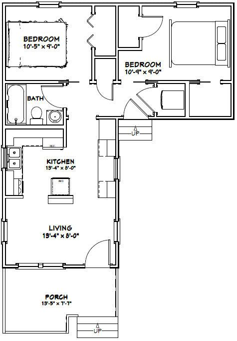 14x32 Tiny Houses 644 Sq Ft Pdf Floor By Excellentfloorplans Tiny