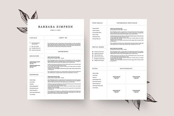 4 Page Resume Template Ms Word By Graphicflava On