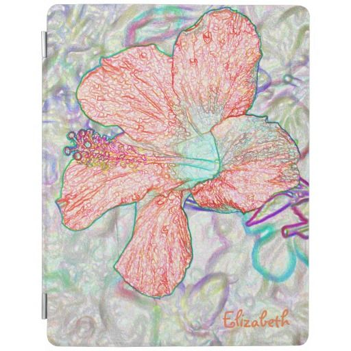 Abstract Pastel Flowers Drawing iPad Cover