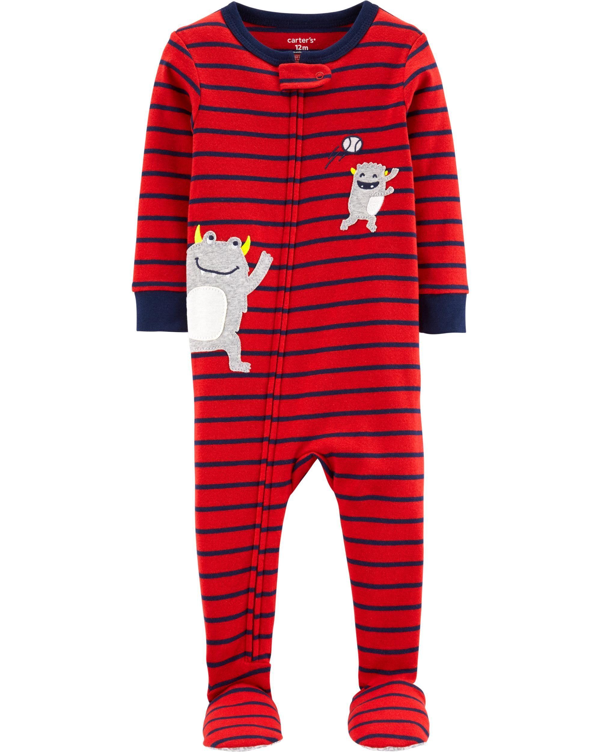 99a68c40ed62 Toddler Boy 1-Piece Monster Baseball Snug Fit Cotton Footie PJs ...