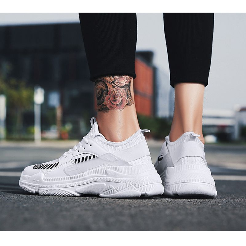 Height Increasing Casual Gym Shoes White Elevator Running