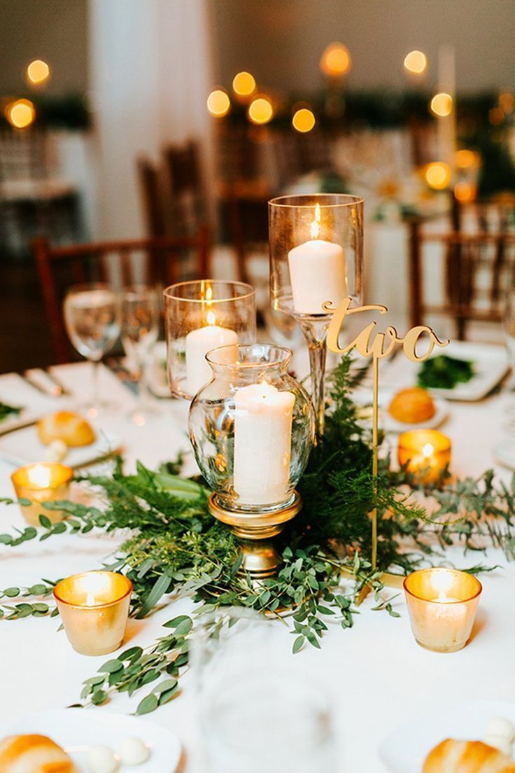 Perfect winter wedding table decoration ideas! With gold ...