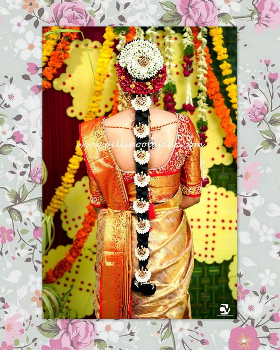 Indian bridal hairstyles pelli poola jada and veni which are floral