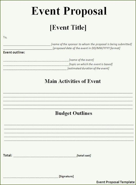 free event proposal templates