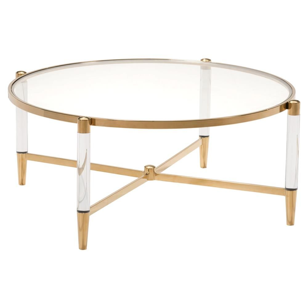 Cecilia Hollywood Regency Gold Round Glass Stainless Steel Round Coffee Table Stainless Steel Coffee Table Gold Coffee Table Lucite Coffee Tables [ 1000 x 1000 Pixel ]
