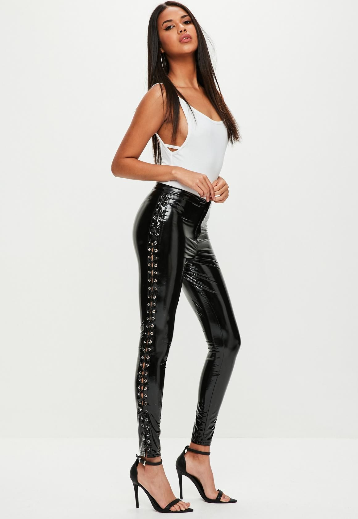 2df4fbbb657bc8 Missguided - Black Vinyl High Shine Lace Up Trousers | Pretty ...