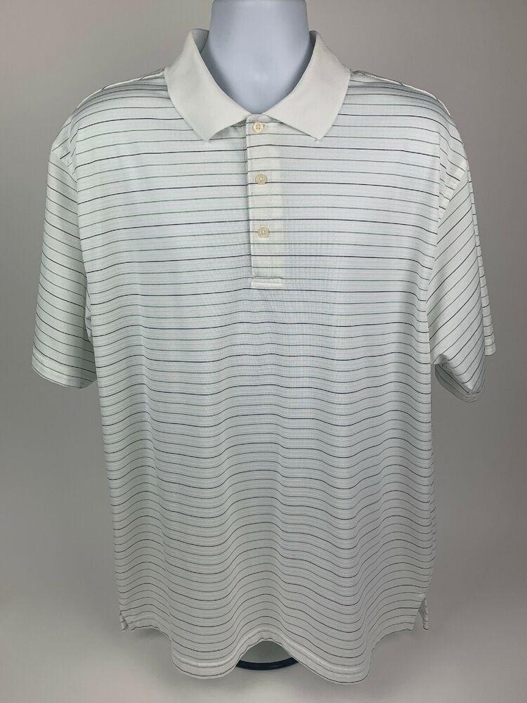 cabb845a Mens Golf Polo PGA Tour Short Sleeve White Stripe Shirt XXL 2XL #fashion # clothing