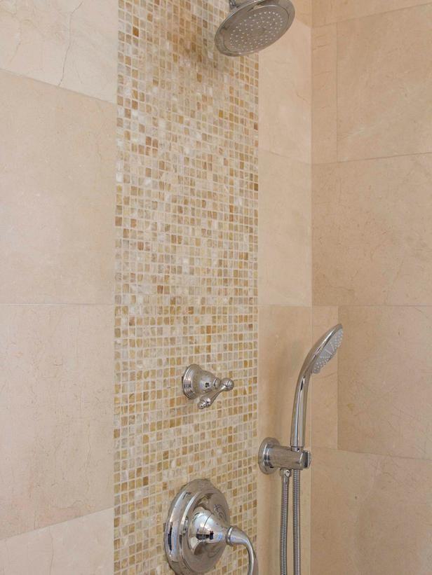 Mosaic Tile Vertical Stripe In Bathroom Shower