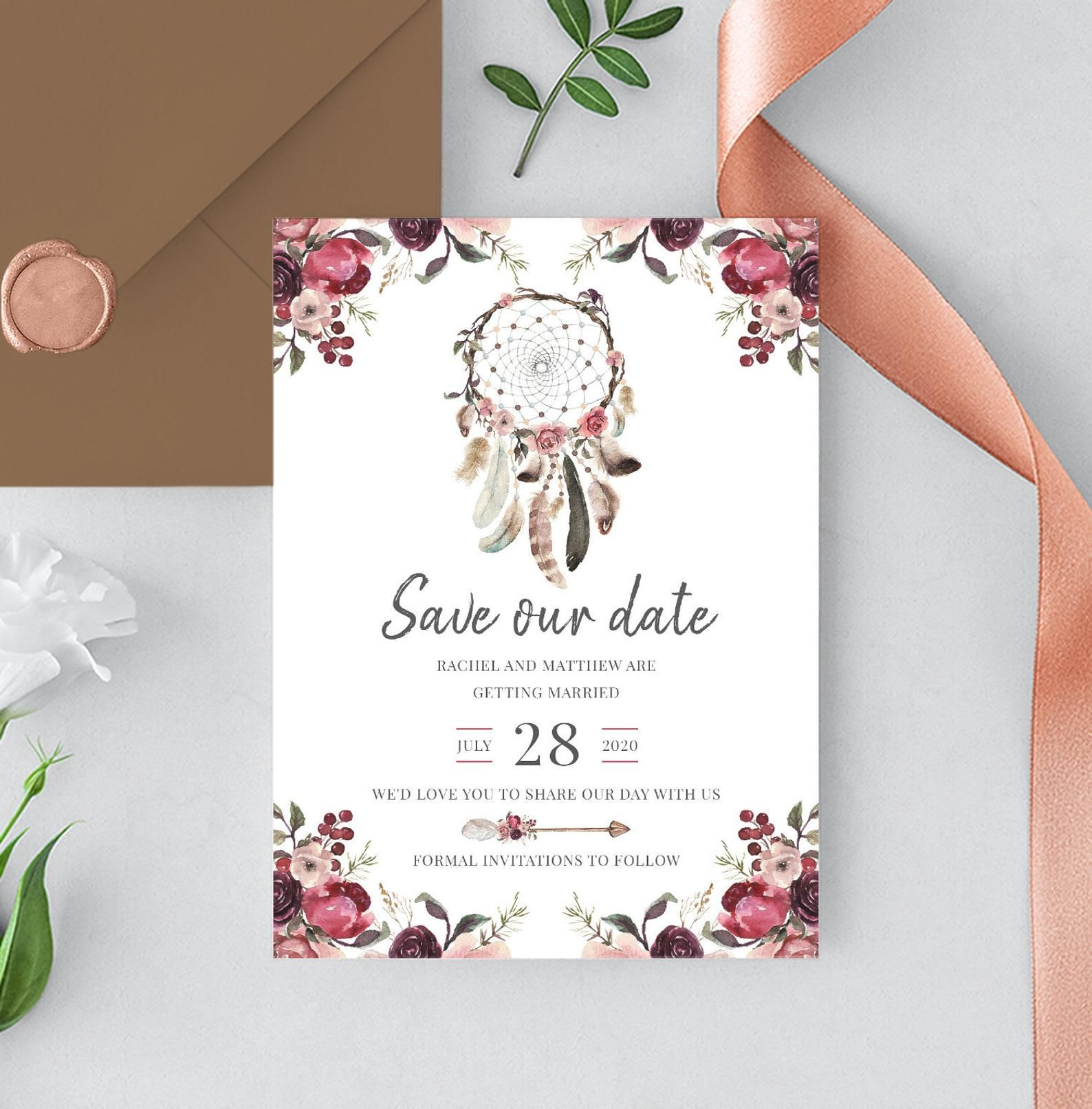 Boho Floral Save the Date Card Feathers invitation Rustic Save the Date Printable Floral Boho Save the Date Bohemian Card