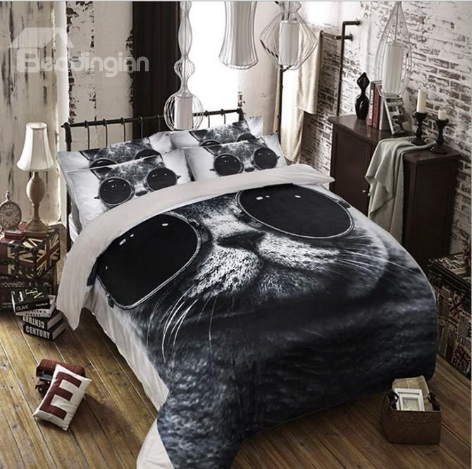 Cool Cat With Sunglasses Print Coral Fleece 4 Piece Duvet Cover Sets Girl Beds Duvet Cover Sets Duvet Covers