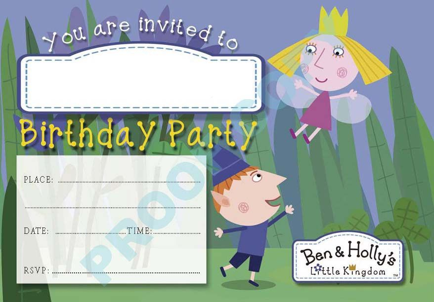 BEN and HOLLY kids children birthday party INVITATIONS Pack of 10 ...