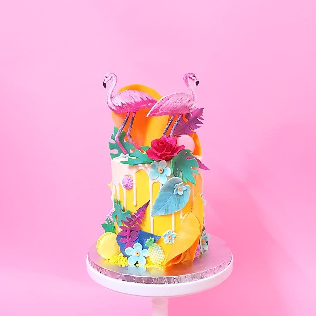 Tropical Flamingo Drip Cake - kekandco | The food of our dreams ...