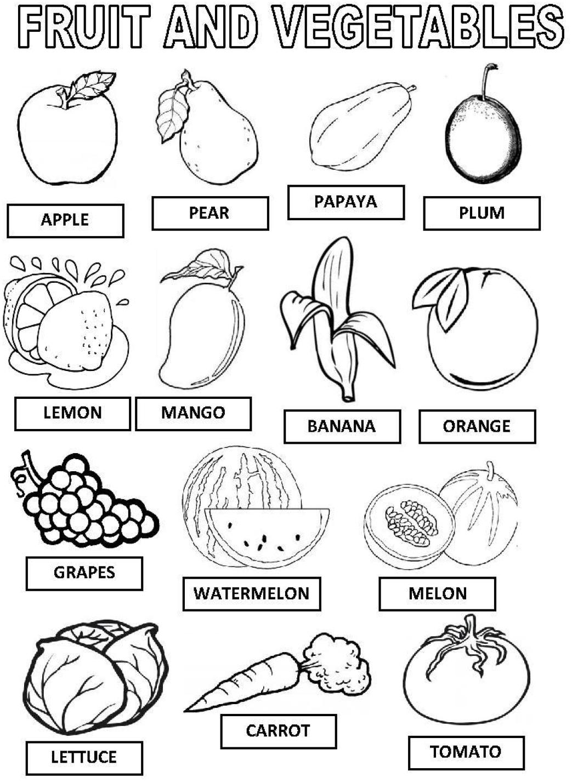 2 Sinif Ingilizce Fruits Meyve Ve Sebzeler Calisma Kagidi