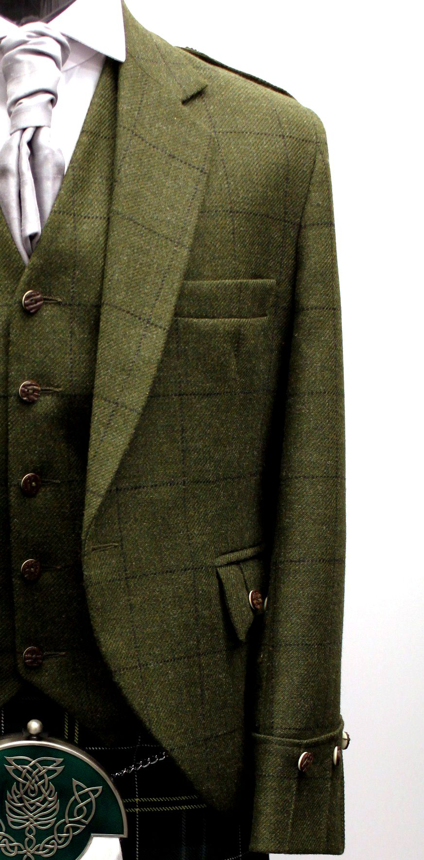 Green Tweed Argyll Kilt Jacket & Vest Tweed wedding