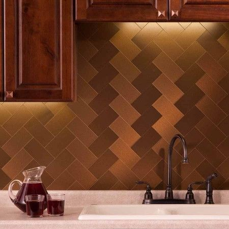 Aspect Backsplash 3x6 Brushed Bronze Long Grain Metal Tile Metallic Backsplash Metal Tile Decorative Wall Tiles