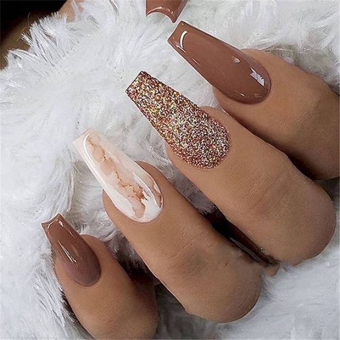39 Trendy Fall Nails Art Designs Ideas To Look Autumnal Charming With Images Fall Acrylic Nails Coffin Nails Designs Coffin Nails Long