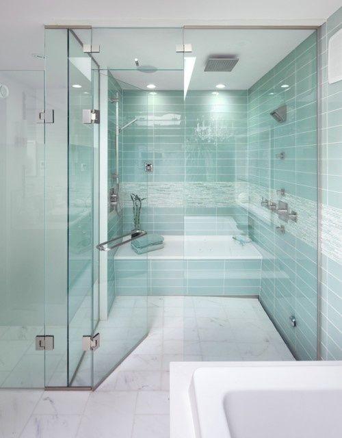 Wet room aqua tiles shower bathroom ideas modern for Space saving ensuite bathroom ideas