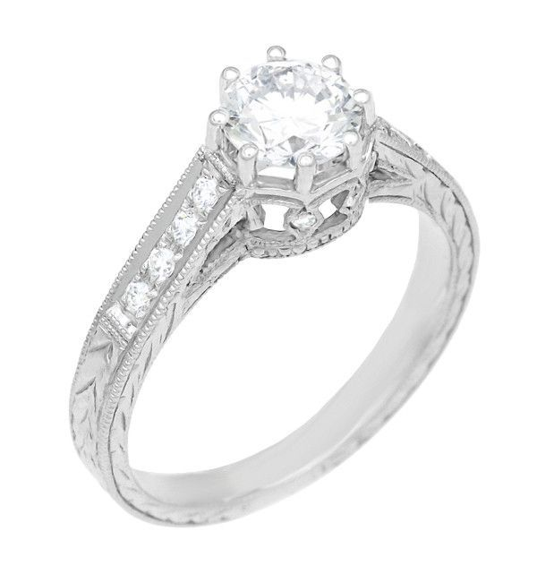 Royal Crown 1/2 Carat Antique Style Engraved Engagement Ring in 18 Karat White Gold