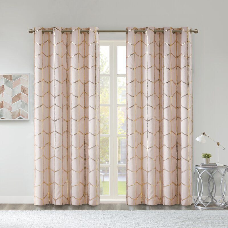 Mangesh Geometric Max Blackout Grommet Single Curtain Panel In