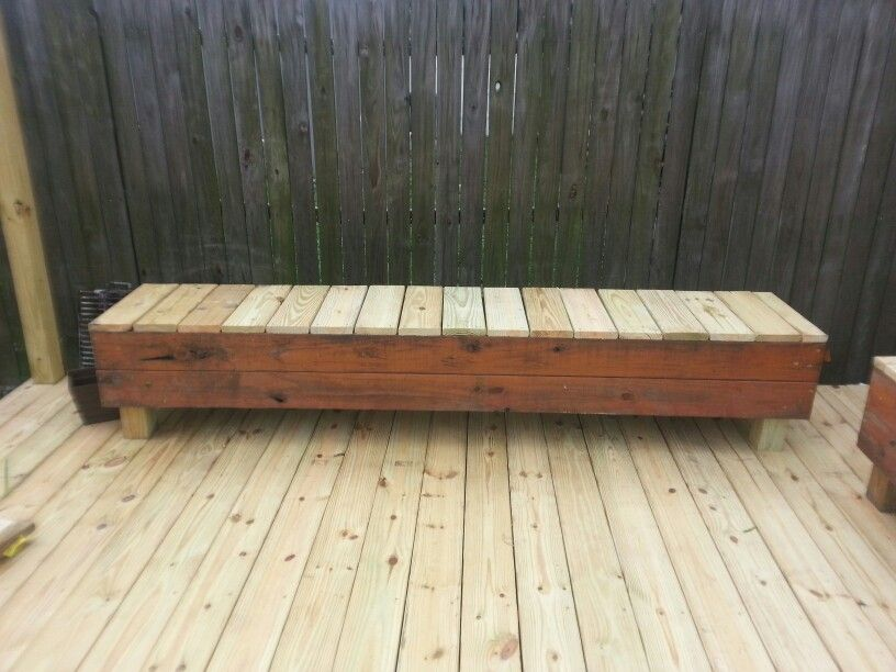 Wood Bench Seating From Scrap Deck Boards And Flower Boxes