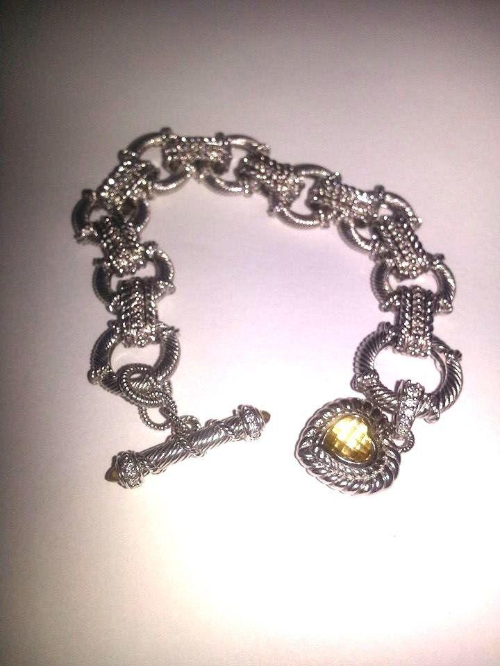 Judith Ripka-Sterling Silver Toggle Bracelet & Citrine Heart Charm Pendant #JudithRipka #Chain