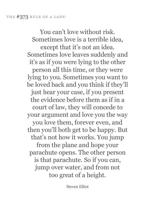 you can't love without risk.