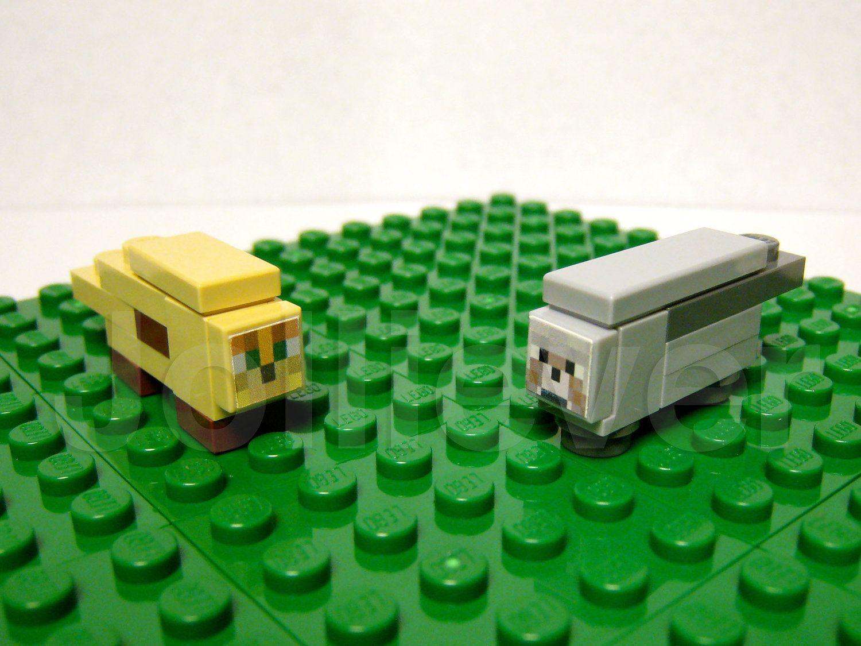 Lego Minecraft Custom Wolf & Tan Ocelot / Cat Set New