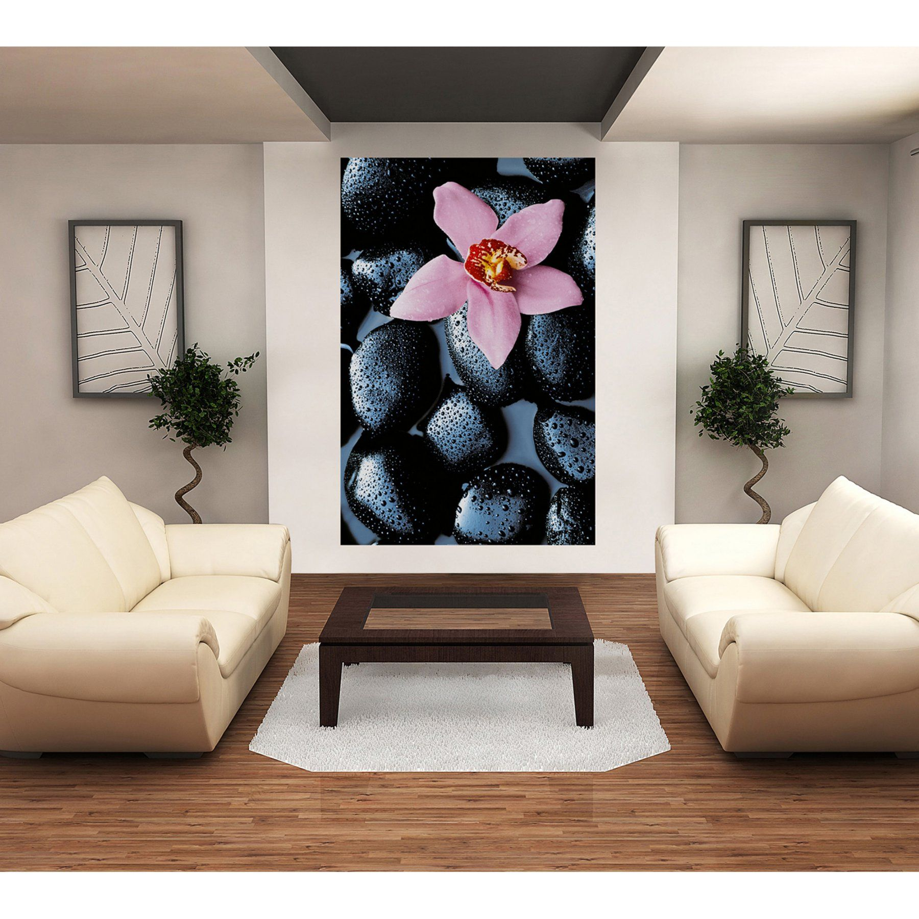 Ideal decor stone orchid wall mural dm products