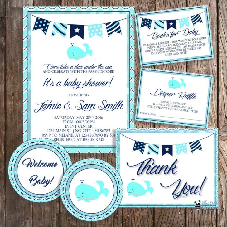 Nautical Baby Shower Invitation Package Whale Baby Shower Invitation ...