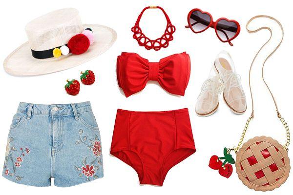e7e0e036ca7 un traje de baño corte alto rojo, el cual decidí combinar con un short  bordado -¡los bordados están nuevamente de moda!- y un sombrero con  pompones.
