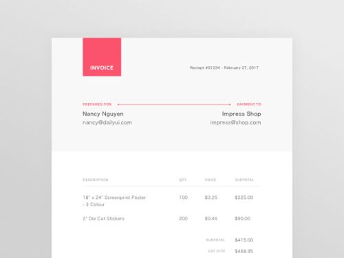Daily UI #046 - Invoice by Nancy Nguyen Interface Pinterest - how to set up an invoice