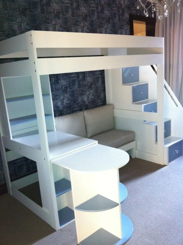 Tween loft bed with pullout desk, sofa and Multi functional stairs.  Www.upsidaisycreations