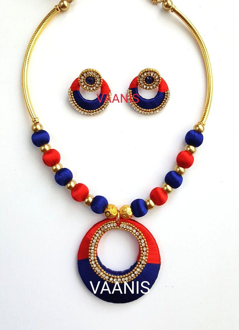 silk youth necklace yistns hover thread blue zoom to