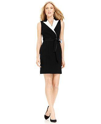 086d502e0f7a Calvin Klein Dress, Sleeveless Belted Tuxedo Wrap - Dresses - Women - Macy's