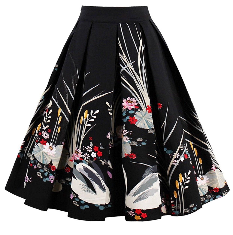 A-Line Printed Pleated Flared Midi Skirts, Swan, Sizes XSmall - 3XLarge - XSmall