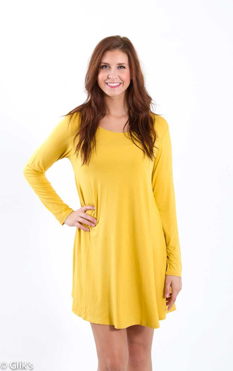 a47020340e Piko T-Shirt Dress with Long Sleeves in Mustard