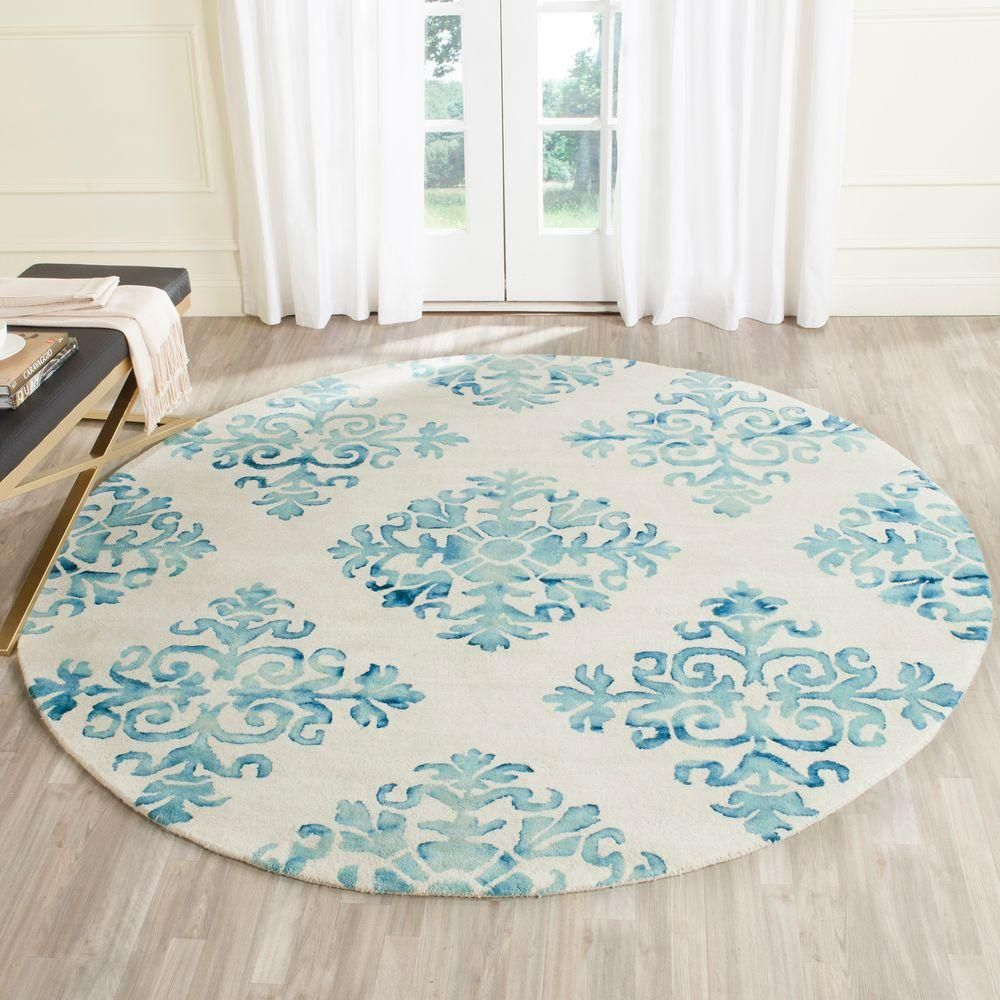 Safavieh Dip Dye Ivory Light Blue 7 Ft X 7 Ft Round Area Rug