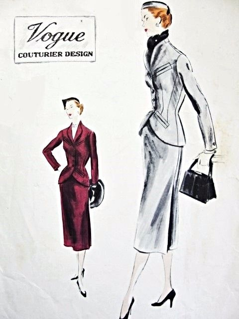 1950s Stunning Suit and Scarf Pattern VOGUE COUTURIER DESIGN 701 Fitted Jacket Cutaway Front Shaped Revers Slim Skirt Side Released Pleats Bust 34 Vintage Sewing Pattern