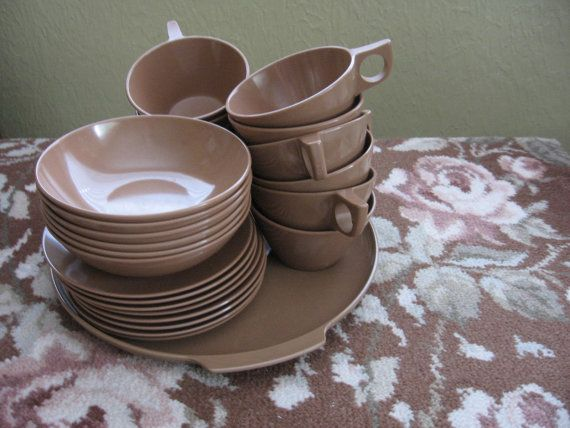 Vintage Brown Melmac Dishes Melamine Dishes Melmac Cups Bowls Plates