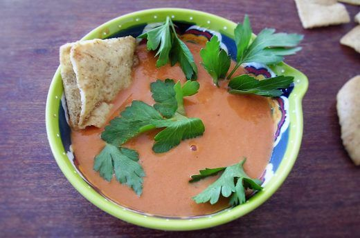 middle eastern spiced creamy tomato soup (uses hummus for creaminess) ++ livestrong