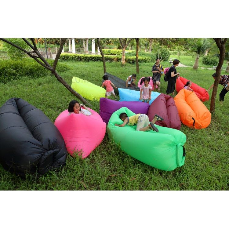 Inflatable Air Bag Air Sofa Couch With Side Pocket For Beach Camping Rest Black 3 Cushions On Sofa Bean Bag Chair Inflatable Sofa